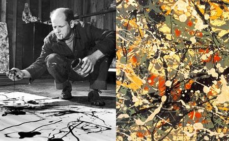 Pollock pintando con acrílicos